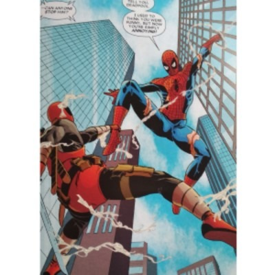 Deadpool comic image, an amazing example of three point perspective done right!