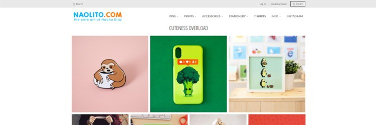 Naolito focuses on selling his cute designs in shirts and other products on his own website