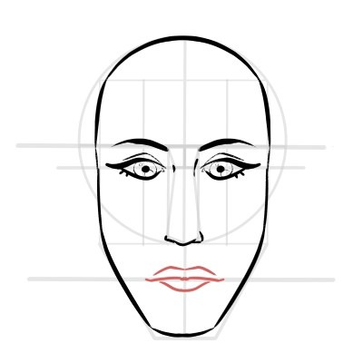 The upper lip of the mouth has an M shape, like this.