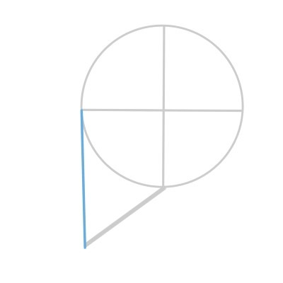 Connect the jaw line with the circle to draw the front of the face.