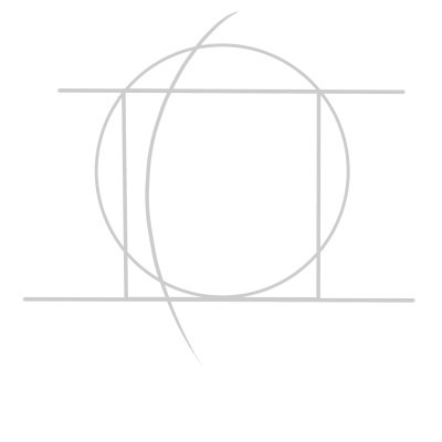 Draw a rectangle on the head to make it easier to find the features of the face.