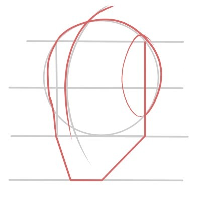 Add the chin line to your three quarters view of the face.