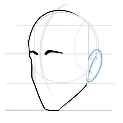 The eyebrows and ears can be simply drawn like this.