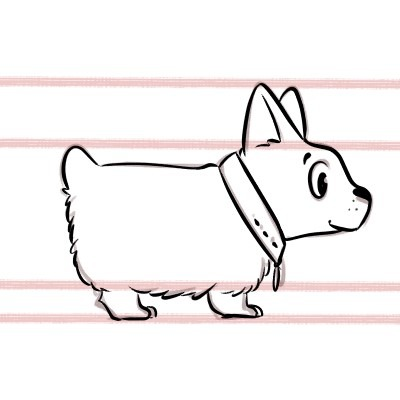 Here's how to draw a corgi, cleaning up the final lines!