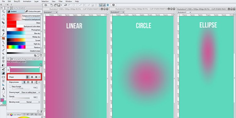 You can change the shape of your gradient in clip studio paint, this includes linear gradient, radial or circle gradient and ellipse gradient!