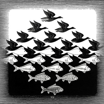 Sky and Water I by M.C. Escher, negative space drawing