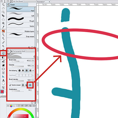 Choose the vector eraser settings you need for your vector layers