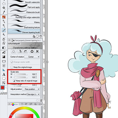 Scale the Horizontal And Vertical Ration in Free Transform as you wish with these sliders in Clip Studio Paint!