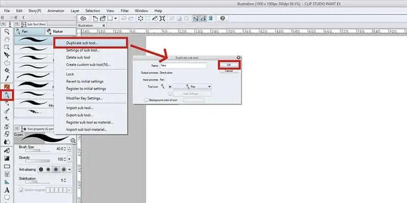 Duplicate your sub tool in Clip Studio Paint