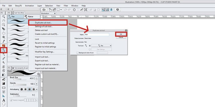 Duplicate your sub tool in Clip Studio Paint