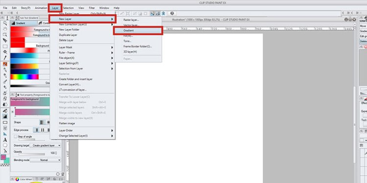 You can create a new gradient layer in clip studio paint in the menu!