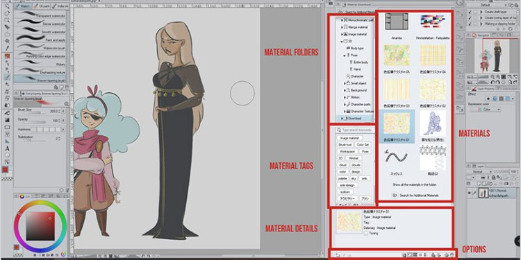 You can use the Material Palette Menu on the right in clip studio paint to use your materials!