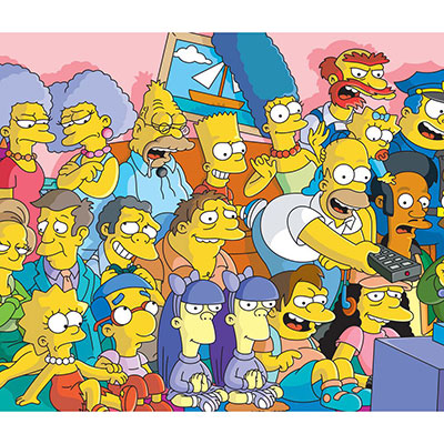 The simpsons have a very characteristic and unique cartoon art style which is widely popular.
