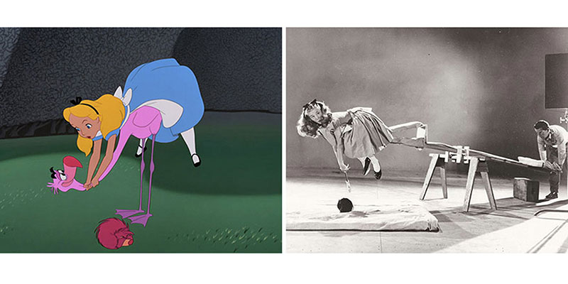 Example of Alice In Wonderland photos with the cartoon drawing side by side