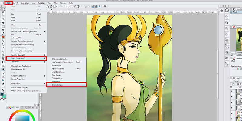 Select Edit - Tonal Correction - Gradient Map to apply a gradient map to an already existing raster layer