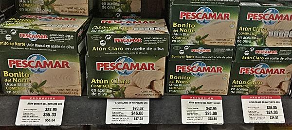 tuna cans on shelf