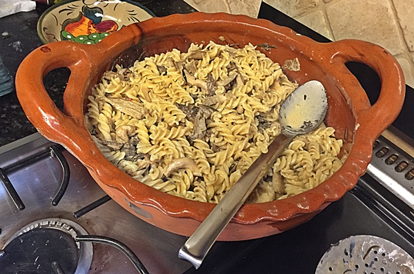 mushrooms pasta in cazuela