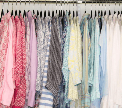 Spring shirts by color, hanging closet, how to organize a range of clothes sizes, Done and Done, Done and Done Home