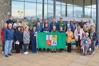 McGrath Clan members from the USA, Canada, UK, Australia, New Zealand, SA and Ireland, pictured at the Termon Complex, Pettigo. Photo: Kelly McAndrews