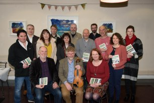 Representatives from Letterkenny Trad Week partners - Donegal County Council, Regional Cultural Centre, An Grianán Theatre, Earagail Arts Festival, Donegal Music Education Partnership and Ceol na Coille and members of the local media - at the launch of the festival on Tuesday December 12th. Photo © Clive Wasson