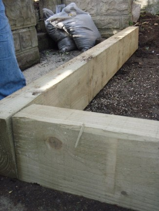 new timber sleepers for the patio base