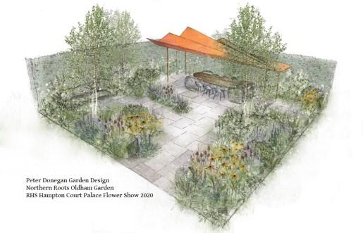 NR Northern Roots Oldham Garden DESIGN for RHS Hampton Court Palace Flower Show 2020 (Peter Donegan, garden designer)