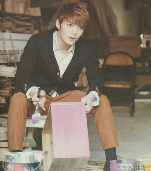 Kim Jaejoong Jejung beautiful pretty light brown hair orange pants pink wood