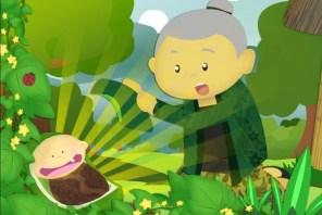 Mbok Sirni sangat  bahagia melihat mentimun yang dia tanam berbuah seorang bayi perempuan