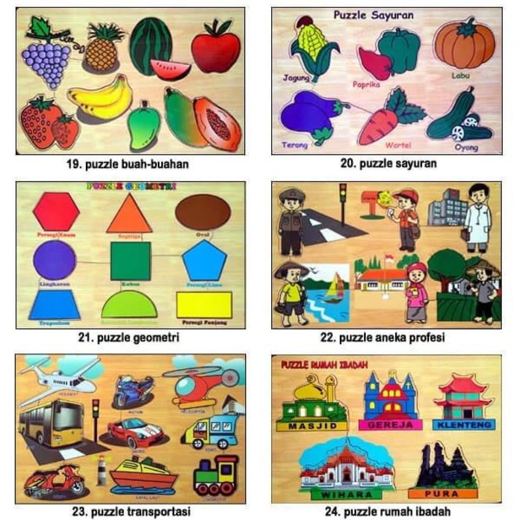 Mainan Edukasi Anak Kayu Puzzle Hewan dan Alphabet Huruf