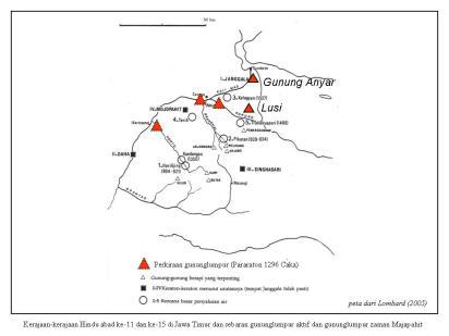 Kerajaan-kerajaan Hindu abad ke-11 dan ke-15 di Jawa Timur dan sebaran gunung lumpur aktif dan gunung lumpur zaman Majapahit.