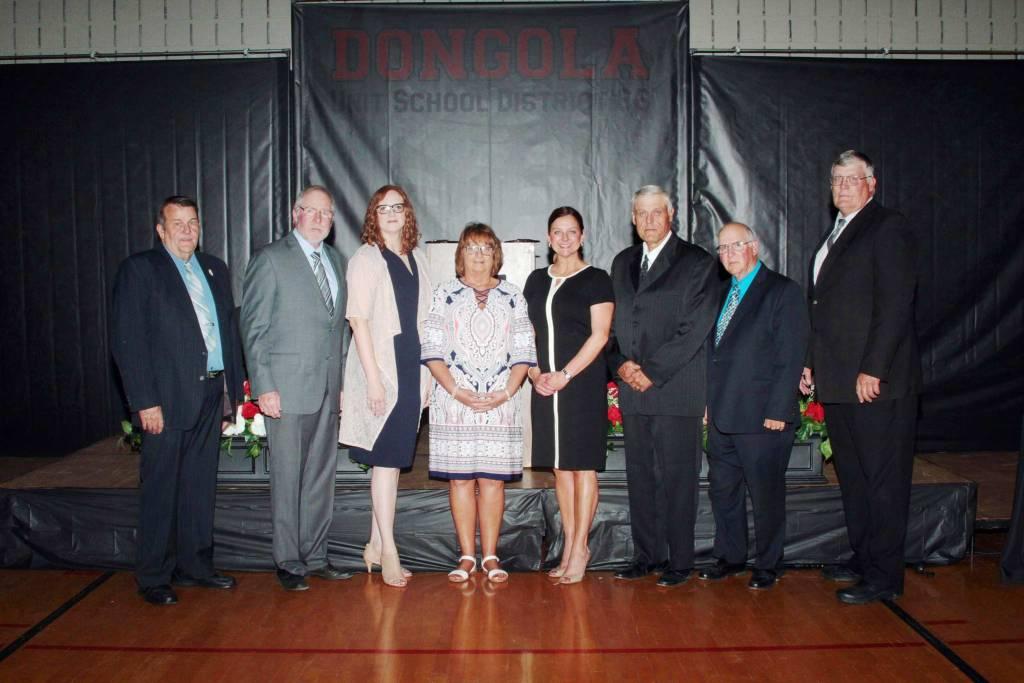 DUSD School Board 2019. From left: Wayne Brown, Phil Miller, Cherie Wright, Brenda Hogue, Dr. Paige Maginel, Dana Eddleman, John Snell, and Mark Eddleman