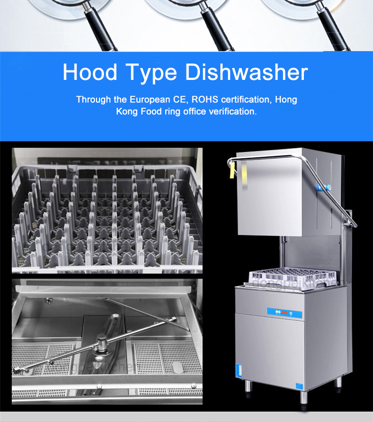 Dish Washer Machine Commercial Hood Type Dishwasher