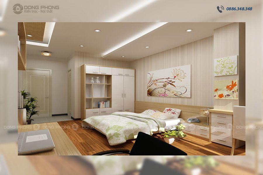 phòng ngủ master nhà ống 1 tầng