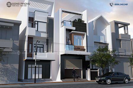 mẫu nhà phố 2 tầng 1 tum hiện đại KTNP1310