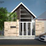 thiết kế mẫu nhà 1 ống 1 tầng 2 phòng ngủ
