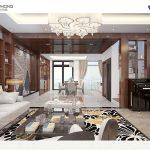 Phòng khách nhà 3 tầng hiện đại NP1300