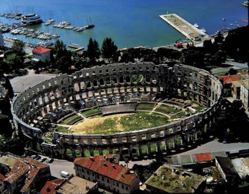 Roman Amphitheater Sky View