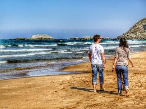 De paseo por la playa de Zarauz por Donibane