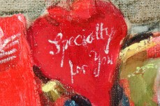 """""""Box With Hearts""""-DETAIL1, oil on canvas - 70 x 70 cm, 2001"""