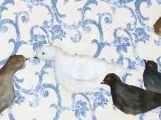 """Homing Pigeons"" - DETAIL 1, oil on canvas - 137 x 225 cm, 2008"