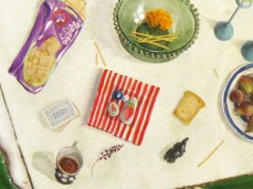 """""""Breakfast on The Grass"""" - DETAIL 2, oil on canvas - 124 x 218 cm, 2009"""
