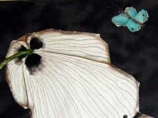 """""""White Poppies"""" - DETAIL 2, oil on dyed canvas - 47 x 66 cm, 2009"""