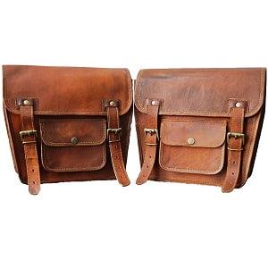 Alforja lateral de piel marrón 2 bolsas 2