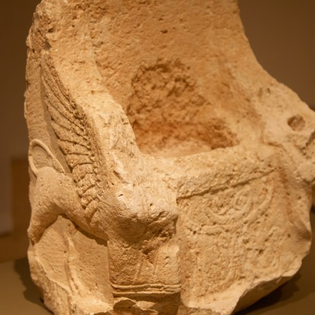 "Palm tree, tree of life, representing the fertility provided by Astarte. Situated between the two winged sphinx guarding her ""empty"" throne. Hellenistic period. Don Michael Hudson, PhD National Museum of Beirut Beirut, Lebanon"