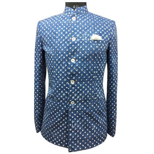 Mens Designer Mandarin Collar Blazer