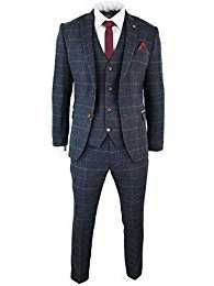 MENS NAVY BLUE WINE CHECK HERRINGBONE TWEED VINTAGE 3 PIECE NEW MARC DARCY SUIT