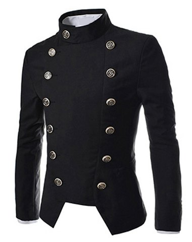 Novel Style Stand Collar Double-Breasted Slimming Solid Color Long Sleeves Men's Blazer
