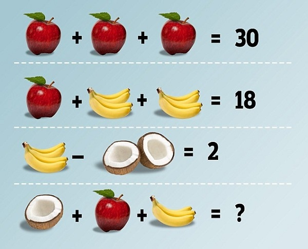 KID'S PUZZLE HAS THE ONTERNET BAFFLED/ BRAIN TEASER/ APPLES, COCONUTS, BANANAS PUZZLE