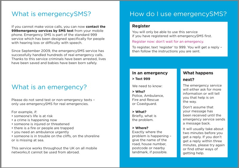 Text emergency services/ sms 999