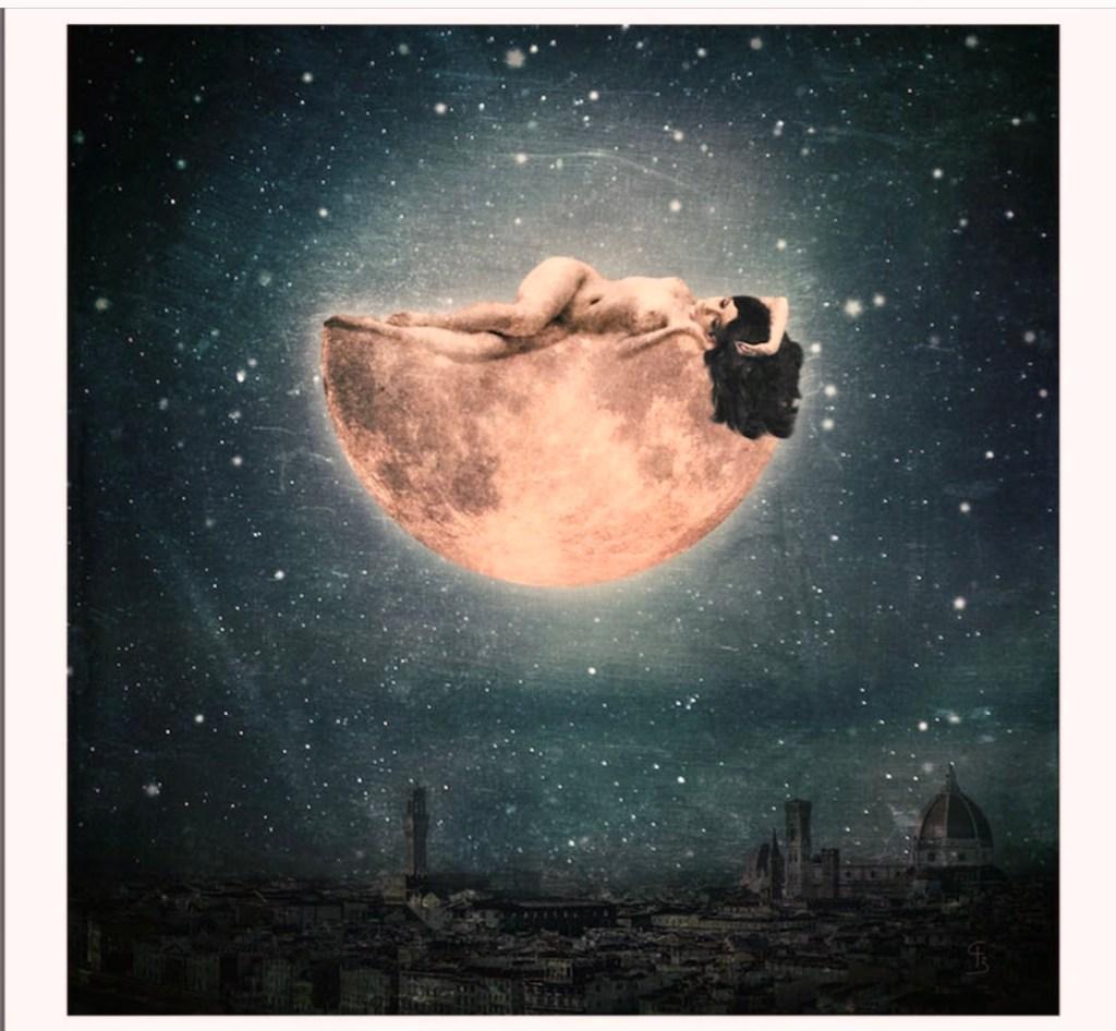 Woman asleep on moon illustration